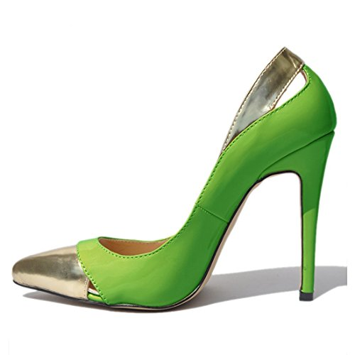 ZriEy Women Pumps Pointed Toe Stiletto Shoes 11cm Green