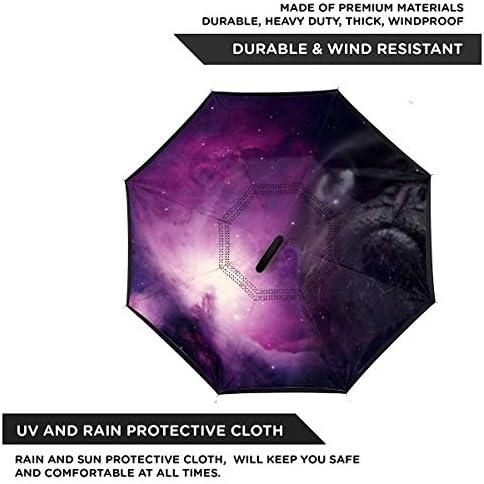 宇宙のパグ 逆さ傘 逆折り式傘 車用傘 耐風 撥水 遮光遮熱 大きい 手離れC型手元 梅雨 紫外線対策 晴雨兼用 ビジネス用 車用 UVカット