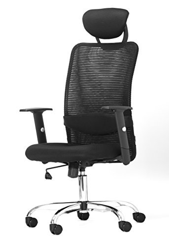 Office Factor Ergonomic Black Mesh Desk Office Chair With Headrest And Adjustable Arms