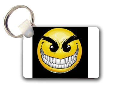 Creepy sinister Smiley Face Keychain Key Chain Great Gift Idea
