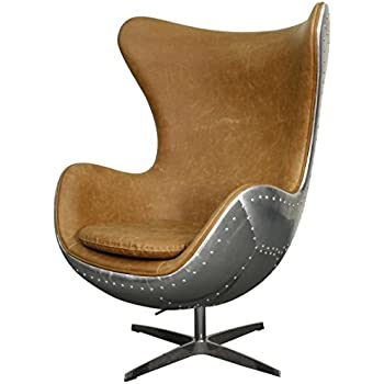 New Pacific Direct Axis PU Leather Aviator Swivel Rocker Chair, Aluminum  Frame, Distressed Caramel