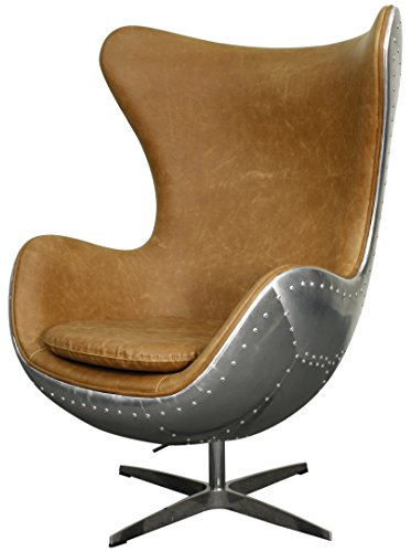 New Pacific Direct Axis PU Leather Aviator Swivel Rocker Chair, Aluminum Frame, Distressed Caramel Brown (Axis Chair)