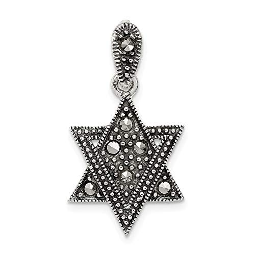 - 925 Sterling Silver Marcasite Jewish Jewelry Star Of David Pendant Charm Necklace Religious Judaica Fine Jewelry Gifts For Women For Her