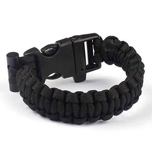 Paracord Survival Bracelet Rope, TRENDINAO New Paracord Survival Bracelet Rope Flint Fire Starter Compass Whistle (Black)