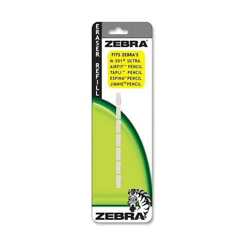 Zebra Eraser Refill, Fits Frisha Automatic, Jimnie, Jimnie Clip & M-301 Ultra, White, 7 Pack (Pen Jimnie Mechanical Pencil Eraser)