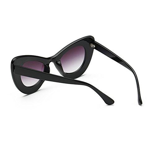 Rétro soleil Eye Fuyingda Bold Lunettes Rond Surdimensionné de Cat Helles Grau Eyewear Cateye Womens Rim Schwarzes Cq7xwFxUt