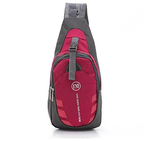 Sling hombro Crossbody pecho bolsa desequilibrio gimnasio Fanny mochila bolso bandolera con correa ajustable para el hombro para ciclismo senderismo Camping viajes hombres y mujeres, hombre, rojo Rosa roja