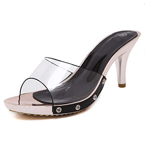 POCARTZ Women's Mid High Heels Clear Slide Slipper Mules Perspex Transparent Sandals Shoes Black