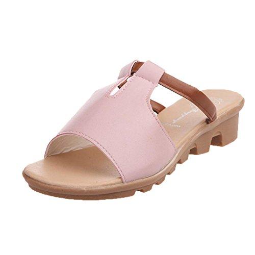 Winwintom Corte de verano fuera sandalias moda Solid Beach diapositivas Zapatillas Zapatos de mujer Rosa