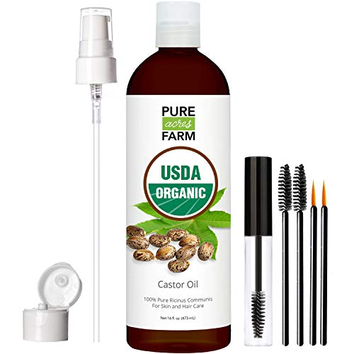Castor Oil - USDA Certified Organic - 100% Pure, Cold-Pressed, Extra-Virgin, Hexane-Free. Best Serum for Eyelash, Hair, Eyebrows & Skin - Boost Growth Naturally - with Applicator Brush Kit (16oz)
