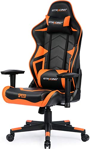 GTRACING Ergonomic Chair Racing Chair Backrest and Seat Height Adjustment with Pillows Recliner Swivel Rocker Tilt E-Sports Chair 102-Orange