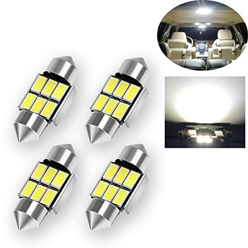 TORIBIO 31mm LED Bulbs 6000K Pure White Bright Interior Car Lights Error Free CANBUS 6-SMD 5730 Chipsets 3175 Festoon Dome Lights, De3021 De3175 LED Bulbs 4pcs