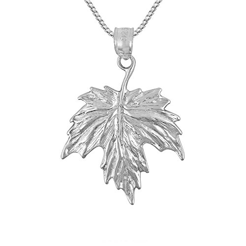 (Sterling Silver Maple Leaf Charm / Pendant, Made in USA, 18