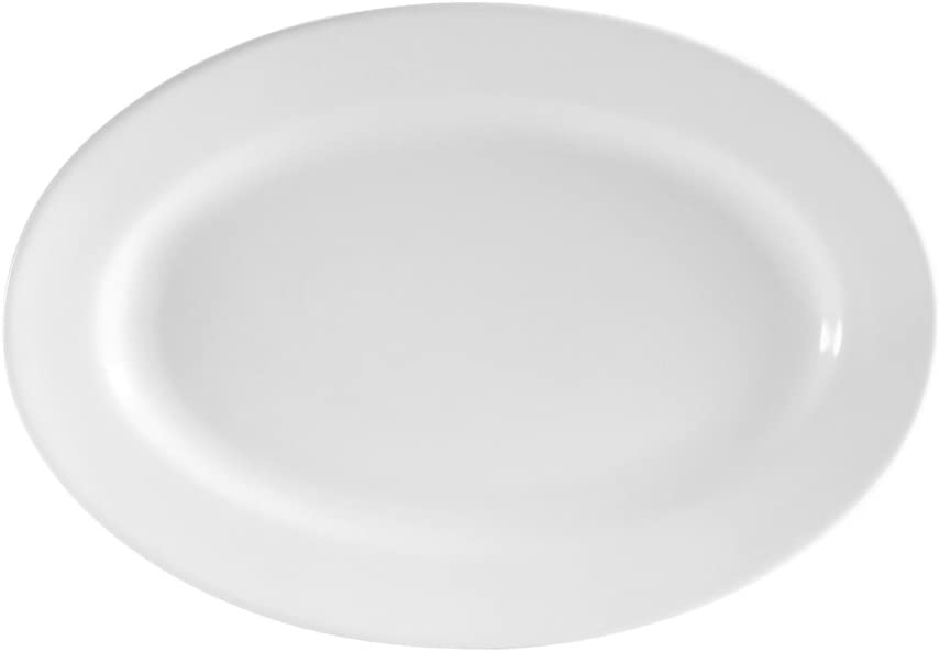 CAC China RCN-81 Clinton Rolled Edge 18-Inch by 12-1/2-Inch Super White Porcelain Oval Platter, Box of 6 41vf6EcLMgLSL1000_