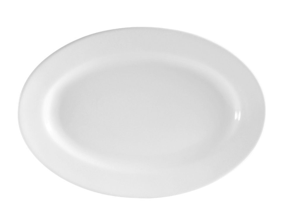 CAC China RCN-14 Clinton Rolled Edge 13-Inch by 7-5/8-Inch Super White Porcelain Oval Platter, Box of 12