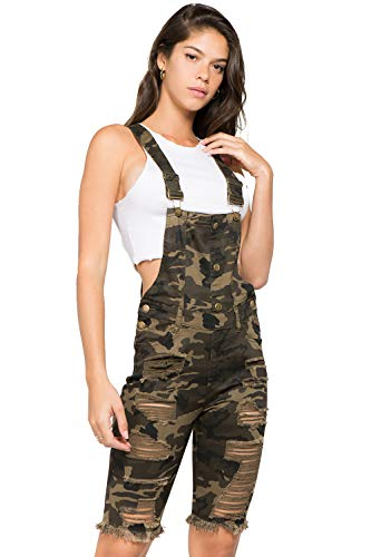 (TwiinSisters Women's Front and Back Destroyed Slim Curvy Cotton Twill Pants Short Bermuda Overalls Size S - 3X)