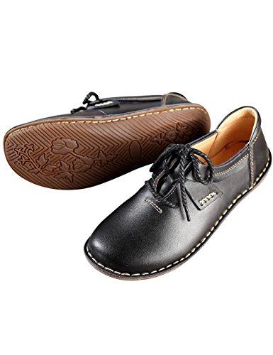 Zoulee Womens Bout Rond Fait À La Main En Cuir Lacets Chaussures Plates Noir