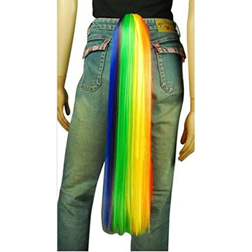 Anogol Rainbow Color Cosplay Wig Tail Ponytail Multi Color for Cosplay Costume Party Bar Show