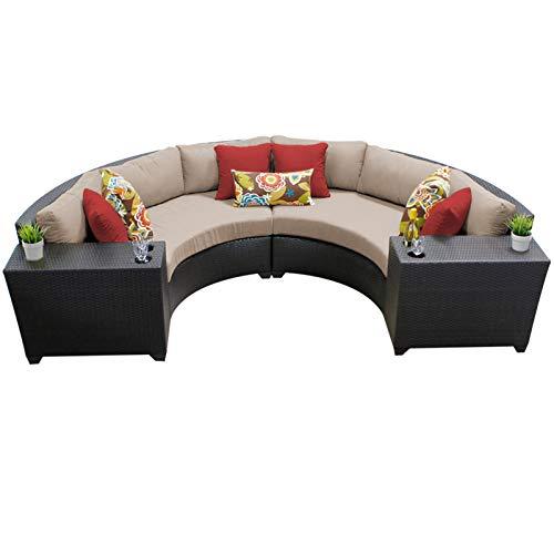 Catalina Outdoor Ottoman Frame - TK Classics 4 Piece Barbados Outdoor Wicker Patio Furniture Set, Wheat 04c