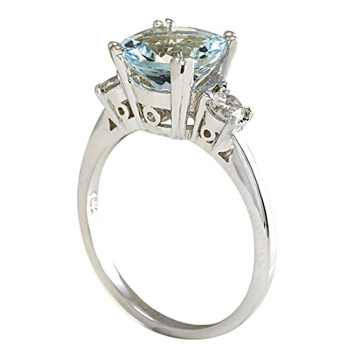 2.33 Carat Natural Blue Aquamarine and Diamond (F-G Color, VS1-VS2 Clarity) 14K White Gold 3 Stone Engagement Ring for Women Exclusively Handcrafted in USA