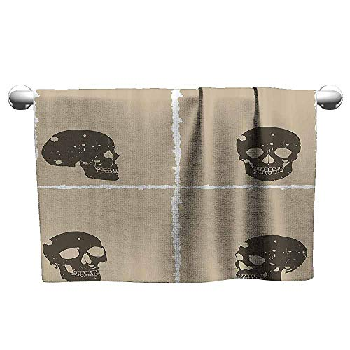 (Grunge Soft Superfine Fiber Bath Towel Skull Figure on Murky Flat Framework Halloween Crossbones Spooky Monster Image W14 x L27 Tan Dark)