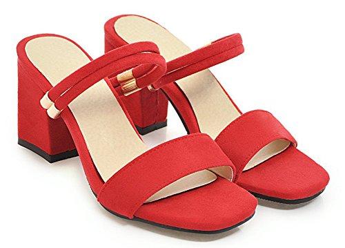 Rouge Mules Femme Tongs Fille Chaussons Mode à Ouvert Bout Enfiler Aisun Loisir AvqwPvdx