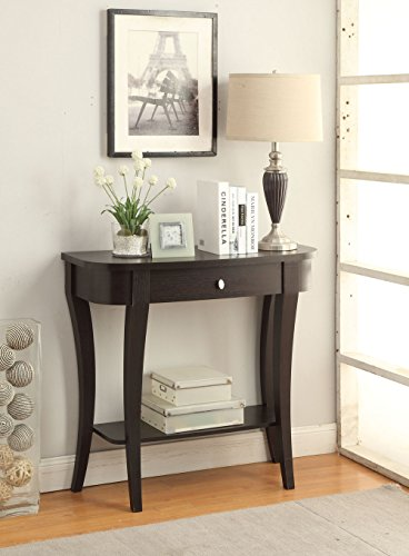Living Room Round Console Table - Convenience Concepts Modern Newport Console Table, Rich Espresso