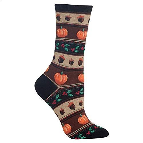 Hot Sox Women's Crew Socks, Thanksgiving Fairisle, Shoe Size 4-10.5