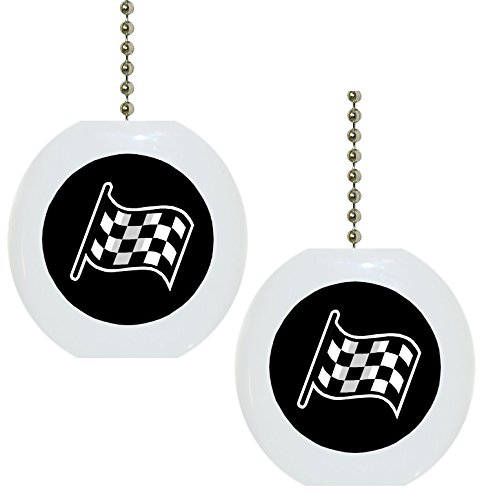 Set of 2 Black Checkered Flag Solid CERAMIC