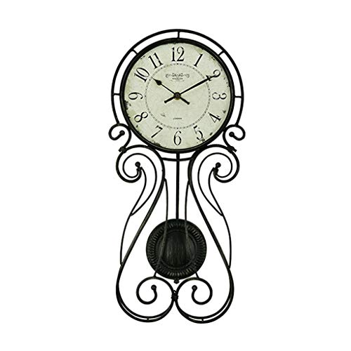 Creative Wall Clock/Country Wrought Iron Pendulum Clock/Mute No Tick/Easy to Read, Suitable for Living Room, Decoration, Gift (24 × 51cm, Black)