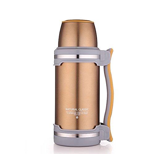ゴールドステンレススチール断熱フラスココーヒースープキャンプボトル2l B072JRF6QZ