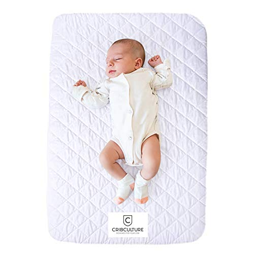 CC Pack N Play Mattress Pad Cover Protector - Waterproof Fitted Padded Baby Playard Sheet, Play Yard Mattress Sheets for Portable Mini Crib - Hypoallergenic Crib Topper Pads - Washer, Dryer Safe ()