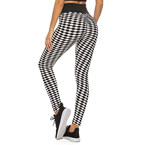 FITTOO Womens High Waist Textured Workout Leggings Stripes Booty Scrunch Yoga Pants Ruched Tights Black White - Capri Footless Tights