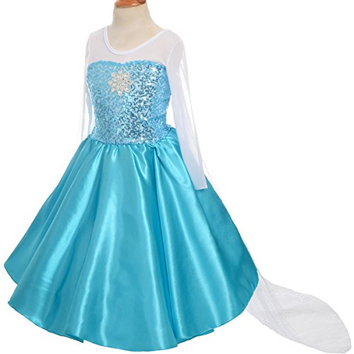Dressy Daisy Girls' Princess Elsa Costume Fancy Party Dresses w/Train Size (Fancy Dress Party Costumes)