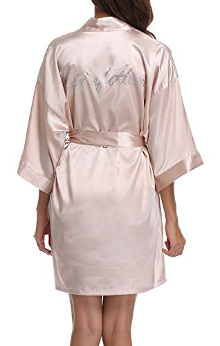 Women's Pure Color Short Kimono Robes for Wedding Party,Short,Champagne,S]()