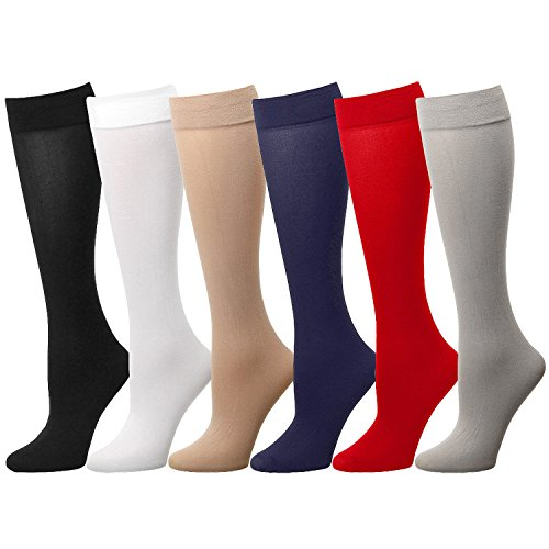 Falari 6 or 12-Pack Women Trouser Socks with Comfort Band Stretchy Spandex Opaque Knee High (6-Pack Assorted #3)