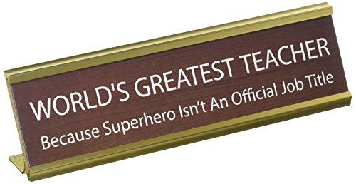 """Enesco """" World's Greatest Teacher"""" Funny Desk Name Plate, Brown"""
