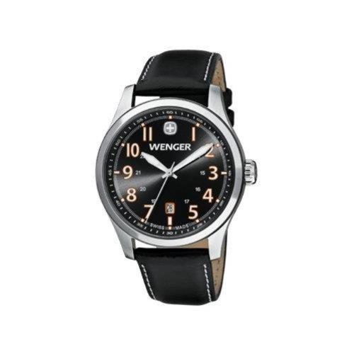 Wenger 0541.104 Men's Terragraph Orange Accents Black Dial Dark Gray Leather Strap Watch