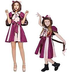 Disfraz Halloween Mujer Niña Adulto Plus Size Alicia En El País De Las Maravillas Ropa para Padres E Hijos Adultos,Purple,ChildXL