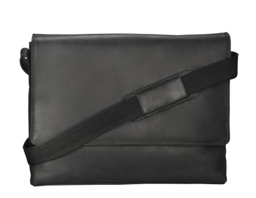 Visconti Visconti Distressed Leather Messenger Bag - 3/4 Flapover, Oil Black, One Size by Visconti