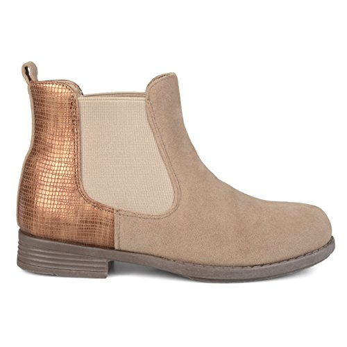Price comparison product image Brinley Co Kids Toddler Little Kids Two-Tone Metallic Embellished Heel Faux Suede Chelsea Boots Beige,  1 Regular US