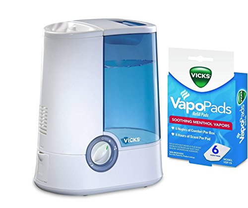 Vicks Warm Mist V750 - Single Room Humidifier 1 Gallon for Medium/Large Rooms with 6 Scent Pads Bundled within