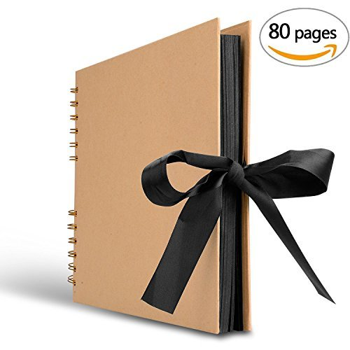 Innocheer Scrapbook, 80 Black Pages Photo Album, 11.6 x 8.3 inch Great for Craft Paper DIY Anniversary, Wedding, Valentines Day Gifts(Brown) ()