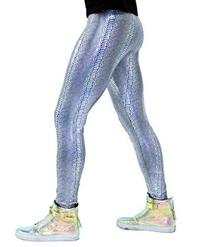 Revolver Fashion - Animal Print Meggings - Snake Skin Men's Leggings - Fun 80's Costume or Rave Gear - Extreme Comfort - Made in USA (Small, Silver Snake) -