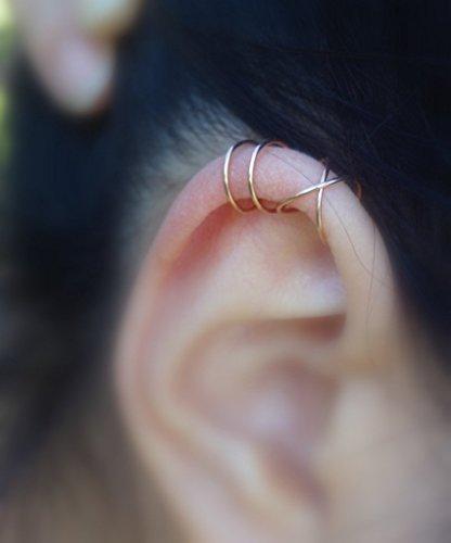 142)***22 Gauge (thin)*** No Piercing SET Of 2 Ear Cuff For Upper Ear Cartilage,Sterling silver,14k Gold Filled,Rose Gold Filled