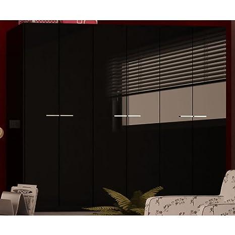 Armadio Guardaroba A Sei Ante.Composad Armadio Guardaroba Laccato Nero Sei Ante Moderno Elegante Ar5076 L240h210p61