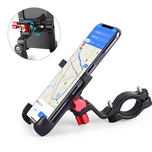 HOMEASY Universal Bike Phone Mount, Motorcycle Handlebar Cellphone Bicycle Holder Black Adjustable, Fits iPhone Xs|XS Max, XR, X, Galaxy S9, Holds Phones from 3.5-7