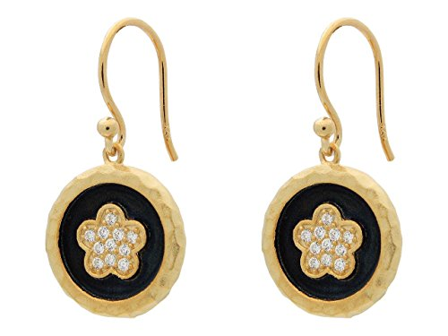 Vermeil Earrings Disc (Hammered Vermeil Silver Flower Disc Hook Earrings, 1.19
