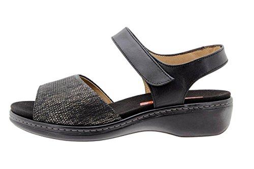 Calzado mujer confort de piel Piesanto 1807 Sandalia Plantilla Extraíble cómodo ancho Carbón