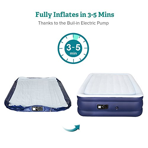 Sable Air Bed with Built-in Electric Pump, Raised Blow up Inflatable Air Mattress with Storage Bag, Height 18 Inches, Full Size by Sable (Image #3)